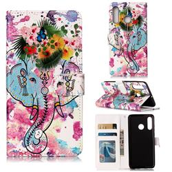 Flower Elephant 3D Relief Oil PU Leather Wallet Case for Huawei P30 Lite