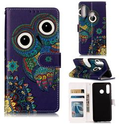 Folk Owl 3D Relief Oil PU Leather Wallet Case for Huawei P30 Lite
