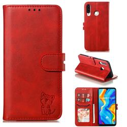 Embossing Happy Cat Leather Wallet Case for Huawei P30 Lite - Red