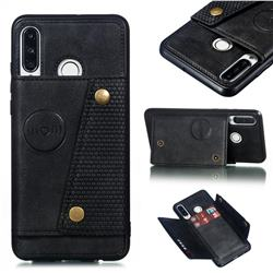 Retro Multifunction Card Slots Stand Leather Coated Phone Back Cover for Huawei P30 Lite - Black