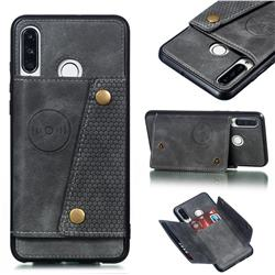 Retro Multifunction Card Slots Stand Leather Coated Phone Back Cover for Huawei P30 Lite - Gray