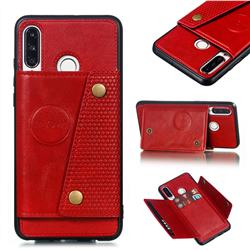 Retro Multifunction Card Slots Stand Leather Coated Phone Back Cover for Huawei P30 Lite - Red