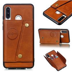 Retro Multifunction Card Slots Stand Leather Coated Phone Back Cover for Huawei P30 Lite - Brown