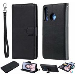 Retro Greek Detachable Magnetic PU Leather Wallet Phone Case for Huawei P30 Lite - Black