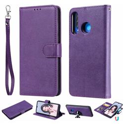 Retro Greek Detachable Magnetic PU Leather Wallet Phone Case for Huawei P30 Lite - Purple