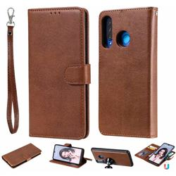 Retro Greek Detachable Magnetic PU Leather Wallet Phone Case for Huawei P30 Lite - Brown