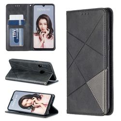 Prismatic Slim Magnetic Sucking Stitching Wallet Flip Cover for Huawei P30 Lite - Black
