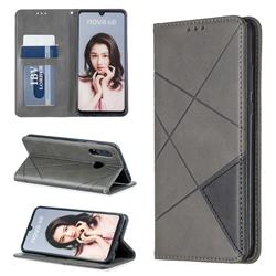 Prismatic Slim Magnetic Sucking Stitching Wallet Flip Cover for Huawei P30 Lite - Gray