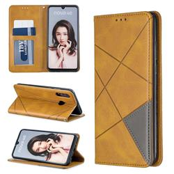 Prismatic Slim Magnetic Sucking Stitching Wallet Flip Cover for Huawei P30 Lite - Yellow