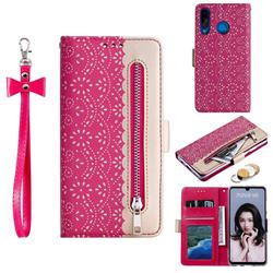 Luxury Lace Zipper Stitching Leather Phone Wallet Case for Huawei P30 Lite - Rose