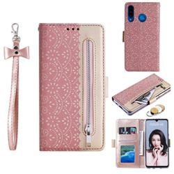 Luxury Lace Zipper Stitching Leather Phone Wallet Case for Huawei P30 Lite - Pink
