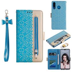 Luxury Lace Zipper Stitching Leather Phone Wallet Case for Huawei P30 Lite - Blue