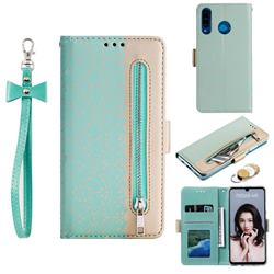 Luxury Lace Zipper Stitching Leather Phone Wallet Case for Huawei P30 Lite - Green