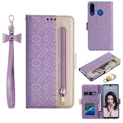 Luxury Lace Zipper Stitching Leather Phone Wallet Case for Huawei P30 Lite - Purple