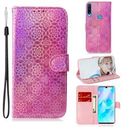 Laser Circle Shining Leather Wallet Phone Case for Huawei P30 Lite - Pink