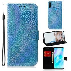 Laser Circle Shining Leather Wallet Phone Case for Huawei P30 Lite - Blue