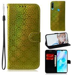 Laser Circle Shining Leather Wallet Phone Case for Huawei P30 Lite - Golden