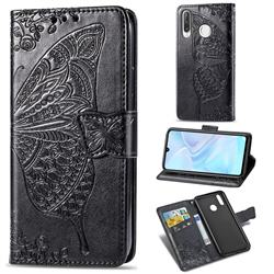 Embossing Mandala Flower Butterfly Leather Wallet Case for Huawei P30 Lite - Black
