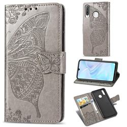 Embossing Mandala Flower Butterfly Leather Wallet Case for Huawei P30 Lite - Gray
