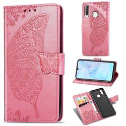 Embossing Mandala Flower Butterfly Leather Wallet Case for Huawei P30 Lite - Pink