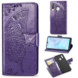 Embossing Mandala Flower Butterfly Leather Wallet Case for Huawei P30 Lite - Dark Purple