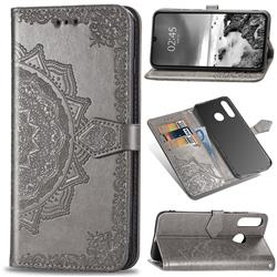 Embossing Imprint Mandala Flower Leather Wallet Case for Huawei P30 Lite - Gray