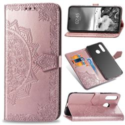 Embossing Imprint Mandala Flower Leather Wallet Case for Huawei P30 Lite - Rose Gold