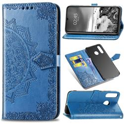 Embossing Imprint Mandala Flower Leather Wallet Case for Huawei P30 Lite - Blue