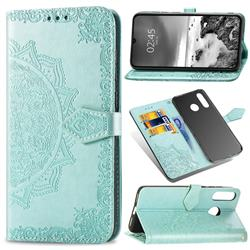 Embossing Imprint Mandala Flower Leather Wallet Case for Huawei P30 Lite - Green