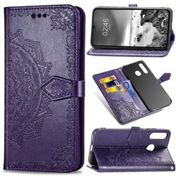Embossing Imprint Mandala Flower Leather Wallet Case for Huawei P30 Lite - Purple