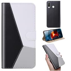 Tricolour Stitching Wallet Flip Cover for Huawei P30 Lite - Black