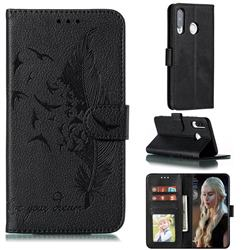 Intricate Embossing Lychee Feather Bird Leather Wallet Case for Huawei P30 Lite - Black