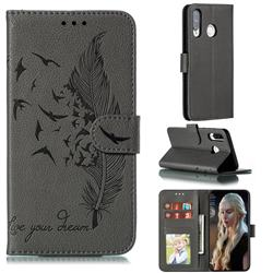 Intricate Embossing Lychee Feather Bird Leather Wallet Case for Huawei P30 Lite - Gray