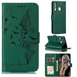 Intricate Embossing Lychee Feather Bird Leather Wallet Case for Huawei P30 Lite - Green