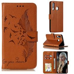 Intricate Embossing Lychee Feather Bird Leather Wallet Case for Huawei P30 Lite - Brown