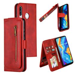 Multifunction 9 Cards Leather Zipper Wallet Phone Case for Huawei P30 Lite - Red