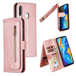 Multifunction 9 Cards Leather Zipper Wallet Phone Case for Huawei P30 Lite - Rose Gold