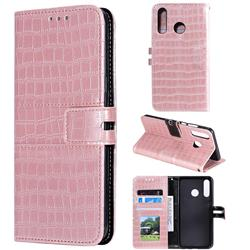 Luxury Crocodile Magnetic Leather Wallet Phone Case for Huawei P30 Lite - Rose Gold