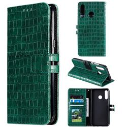 Luxury Crocodile Magnetic Leather Wallet Phone Case for Huawei P30 Lite - Green