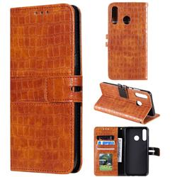 Luxury Crocodile Magnetic Leather Wallet Phone Case for Huawei P30 Lite - Brown
