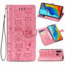 Embossing Dog Paw Kitten and Puppy Leather Wallet Case for Huawei P30 Lite - Pink