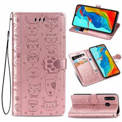 Embossing Dog Paw Kitten and Puppy Leather Wallet Case for Huawei P30 Lite - Rose Gold