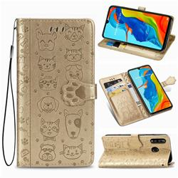 Embossing Dog Paw Kitten and Puppy Leather Wallet Case for Huawei P30 Lite - Champagne Gold