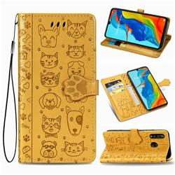 Embossing Dog Paw Kitten and Puppy Leather Wallet Case for Huawei P30 Lite - Yellow