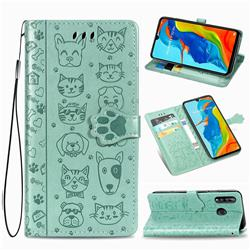 Embossing Dog Paw Kitten and Puppy Leather Wallet Case for Huawei P30 Lite - Green