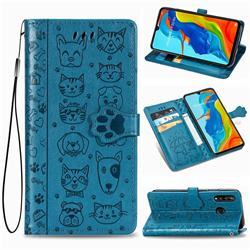 Embossing Dog Paw Kitten and Puppy Leather Wallet Case for Huawei P30 Lite - Blue
