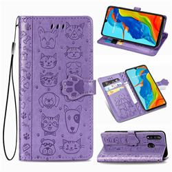 Embossing Dog Paw Kitten and Puppy Leather Wallet Case for Huawei P30 Lite - Purple