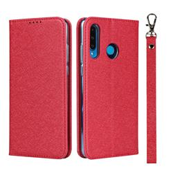 Ultra Slim Magnetic Automatic Suction Silk Lanyard Leather Flip Cover for Huawei P30 Lite - Red