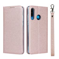 Ultra Slim Magnetic Automatic Suction Silk Lanyard Leather Flip Cover for Huawei P30 Lite - Rose Gold