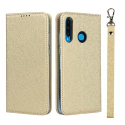 Ultra Slim Magnetic Automatic Suction Silk Lanyard Leather Flip Cover for Huawei P30 Lite - Golden